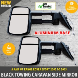 Electric Black Towing Caravan Side Mirrors 2 x Range Rover Sport 2005 - 2013
