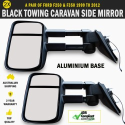 Black HighVis Electric Towing Side Mirror Pair Ford F250 & F350 1999 To 2012