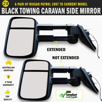 Black Electric Towing Caravan Side Mirror Pair Nissan Patrol 1997 to Current