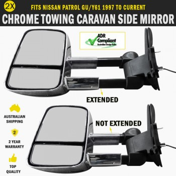 Electric Towing Caravan Side Mirror Pair Nissan Patrol 1997 to Current