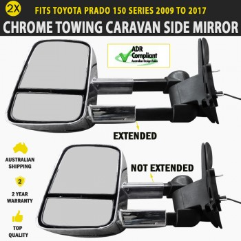 Towing Caravan Side Mirror Pair Foldable Toyota Prado 150 Series 2009 to 2017