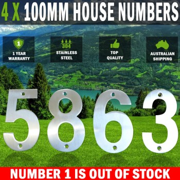 4 X 100 MM House Letter Box Numbers 304 Stainless Steel
