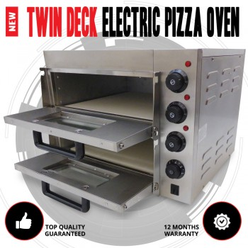 NEW Twin Deck Stone Base Stainless Steel Electric Outdoor Pizza Oven