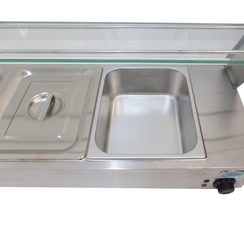 New bain marie display unit 5 gn pans lids with glass for Cuisson four bain marie