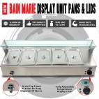 NEW Bain Marie Display Unit 5 GN Pans & Lids With Glass Display Surround