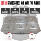 New 6 Pan Stainless Steel Bain Marie Food Warmer 6 GN Tray With Lids Gastronorm