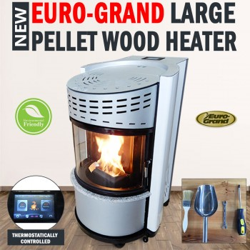 NEW Euro-Grand Large Pellet Wood Heater Environmentally Friendly 11KW Freestand