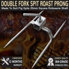 Pig Spit Double Fork Prong Stainles Steel 20mm Square Rotisserie Shaft