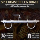 Pig Spit BBQ Leg Brace 20mm Square Skewer 304 Stainless Steel For Up To 20mm