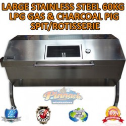 LARGE STAINLESS STEEL 60KG LPG BBQ CHARCOAL PIG SPIT ROASTER ROTISSERIE BARBEQUE