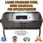 LARGE STAINLESS STEEL 60KG BBQ CHARCOAL PIG SPIT ROASTER ROTISSERIE BARBEQUE