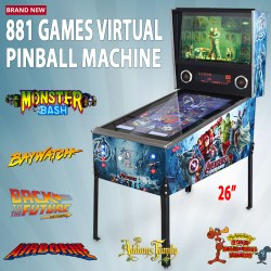 """42"""" 881 Games Virtual Pinball Machine With Avengers Decal Coin Mechanism"""