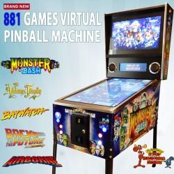 881 Games Virtual Pinball Machine Monster Bash Decals Coin Mechanism