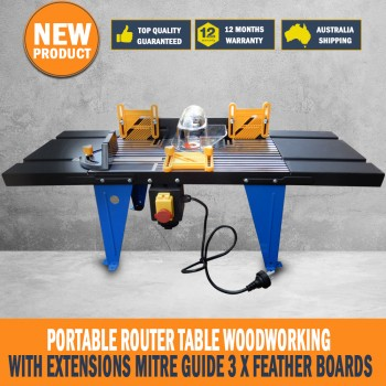 Portable Router Table Woodworking With Extensions Mitre Guide 3 x Feather Boards