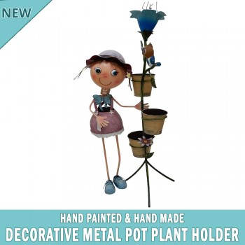 Garden Pot Plant Metal Decor Statue Ornament Figurine Outdoor Indoor