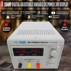 10Amp Digital Adjustable Variable DC Power Supply 30V Display