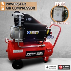 Electric Air Compressor Tank 2HP 195L/min Power Star Portable Direct Drive 30L