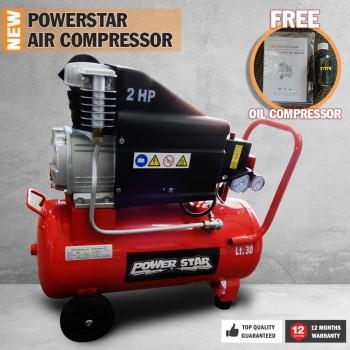 Electric Air Compressor Tank 2HP 195L/min Power Star Portable Direct Drive 30L