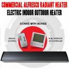 1800W COMMERCIAL ALFRESCO RADIANT STRIP PATIO HEATER, ELECTRIC INDOOR OUTDOOR