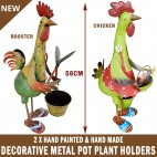 Chicken / Rooster Garden Pot Plant Metal Decor Statue Ornament Figurine