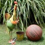 Chicken / Rooster Garden Pot Plant Metal Decor Statue Ornament Figurine