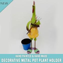 Rooster Garden Pot Plant Metal Decor Statue Ornament Figurine Outdoor Indoor