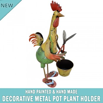 Chicken Garden Pot Plant Metal Decor Statue Ornament Figurine Outdoor Indoor