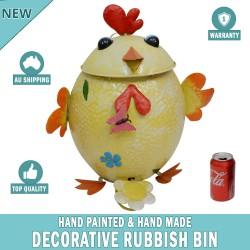 Chicken Decorative Garden Garbage Trash Bin Hand Made & Painted