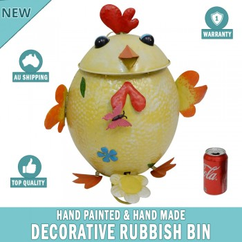Chicken Decorative Garden Garbage Trash Bin Hand Made & Painted