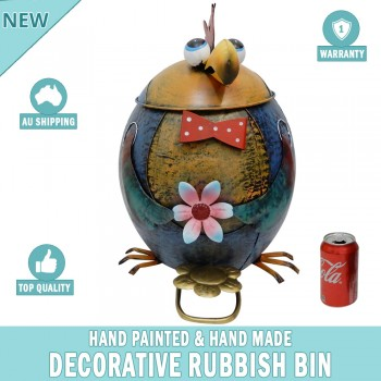 Chook Decorative Garden Garbage Trash Bin Hand Made & Painted