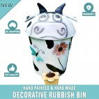 COW Decorative Garden Garbage Trash Bin Hand Made & Painted