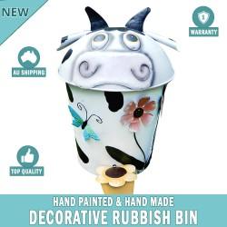 COW Decorative Garden Garbage Trash Bin Hand Made & Painted