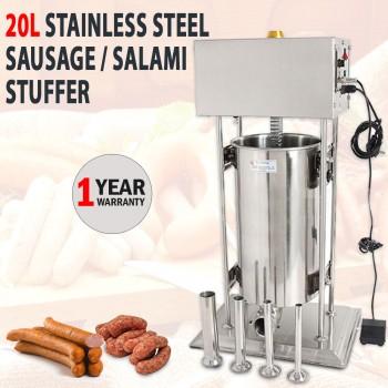 Electric 20L Stainless Steel Sausage Salami Filler Stuffer Speed Adjust
