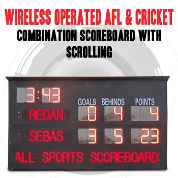 Wireless Operated Aussie Rules AFL Football and Cricket Scoreboard With Scrolling 350 x 160cm