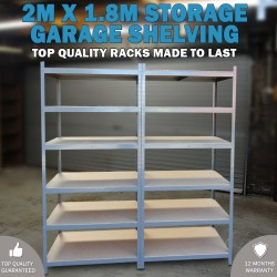 2M x 1.8M Metal Warehouse Racking Rack Storage Garage Shelving Shelf Shelves