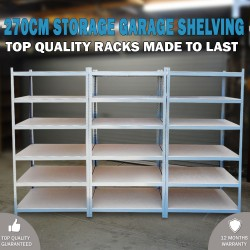 270cm Metal Warehouse Racking Rack Storage Garage Shelving Shelf Shelve
