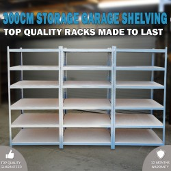 300cm Metal Warehouse Racking Rack Storage Garage Shelving Shelf Shelve