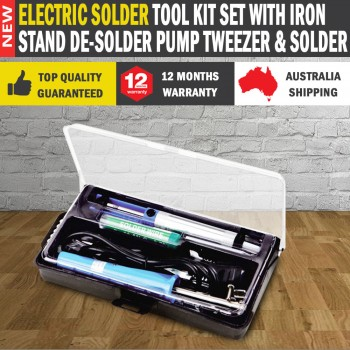 Electric Solder Tool Kit Set With Iron Stand De-solder Pump Tweezer & Solder