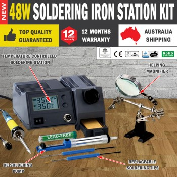 48Watt Soldering Iron Station Kit Desoldering Temperature Controlled