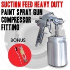 "Suction Feed Heavy Duty Paint Spray Gun 600ml 1/4"" Air Hose Compressor Fitting"