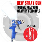 New Gravity Feed HVLP Car Spray Gun Paint Low Pressure With 2 Nozzles 1000ml