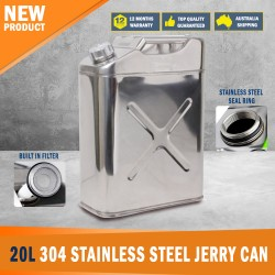New 20L 304 Stainless Steel Jerry Can Fuel/Water Storage Oil Gas Can