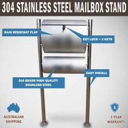 304 Stainless Steel Townhouse Mailbox Letterbox Letter Mail Post Box Stand