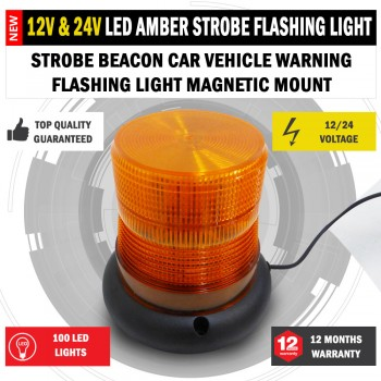 NEW LED 12/24 Strobe Beacon Car Warning Flashing Light Magnetic Mount Amber