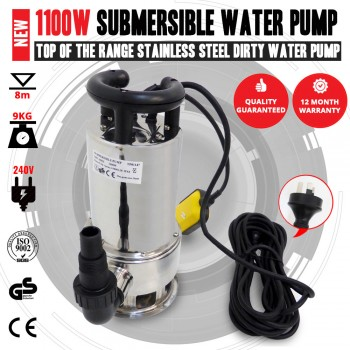 NEW 1100W Stainless Steel Submersible Dirty Water Bilge Pump For Sump Or Swell