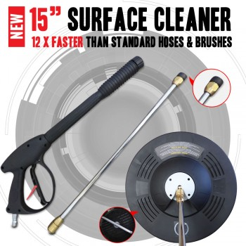 "Industrial Grade 15"" inch Surface Cleaning Cleaner With Pressure Washer Gun"