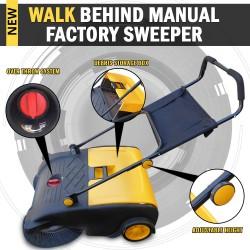 Industrial Manual Walk Behind Floor Factory Sweeper 50L Capacity Storage