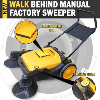 Industrial Manual Walk Behind Floor Sweeper 50L Capacity Storage