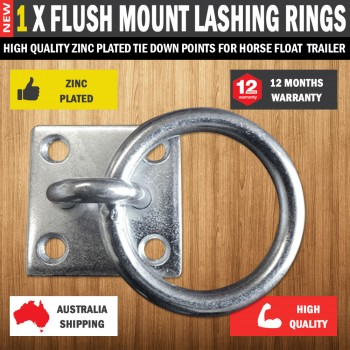 1 X Flush Mount Lashing Rings Zinc Plated Tie Down Points Horse Float Trailer