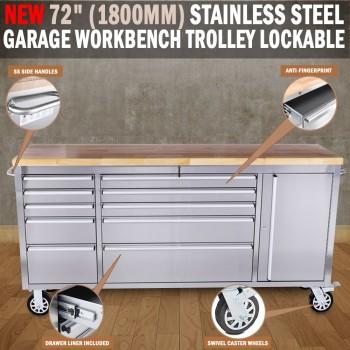 "72"" 1800mm Stainless Steel Garage Work Bench Tool Trolley Lockable Wheels"